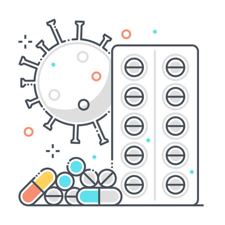 Pills related color line vector icon, illustration. The icon is about treatment, medicine, pharmacy, corona virus, contamination, epidemic. The composition is infinitely scalable.