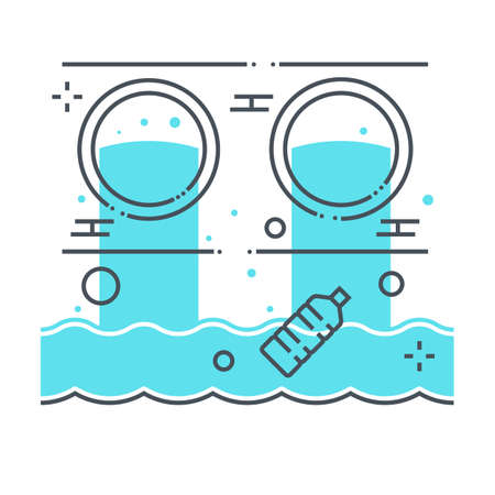 Waste water related color line vector icon, illustration. The icon is about sea, ocean, pollution, bottle, sewage, environment. The composition is infinitely scalable. Illustration