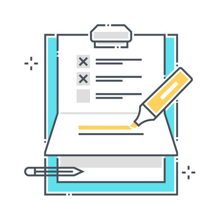To do list related color line vector icon, illustration. The icon is about clipper, paper binder, pen, survey, marker. The composition is infinitely scalable.
