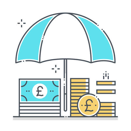 Income protection related color line vector icon, illustration. The icon is about assurance, umbrella, income, bank, account, money, coin. The composition is infinitely scalable.