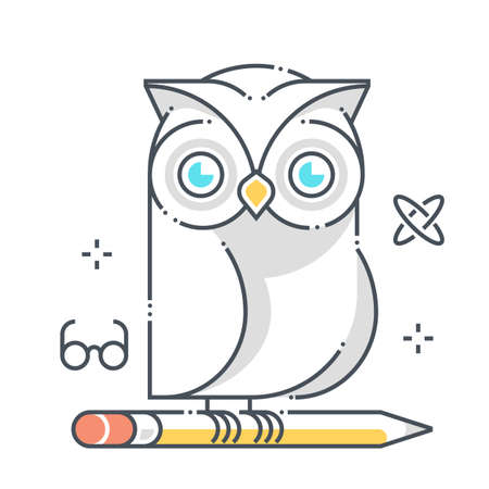 Owl related color line vector icon, illustration. The icon is about education, school, system, pen, student. The composition is infinitely scalable. Illustration