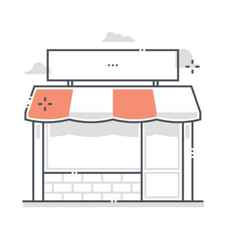 Shop related color line vector icon, illustration. The icon is about property, investment, real estate, rental, immovable. The composition is infinitely scalable.
