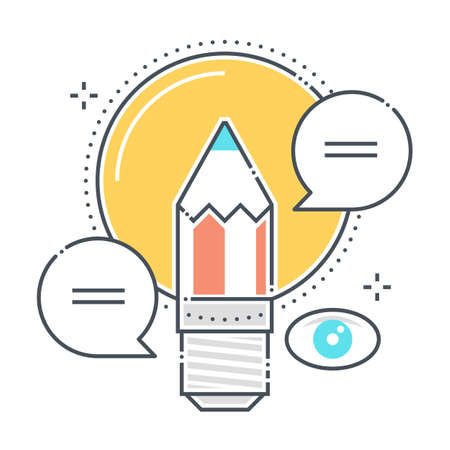 Marketing idea related color line vector icon, illustration. The icon is about creative, lamp, pen, light, vision. The composition is infinitely scalable.