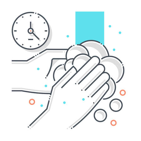 Cleaning related color line vector icon, illustration. The icon is about hand wash, soap, hands, water,  contamination, epidemic, duration. The composition is infinitely scalable.