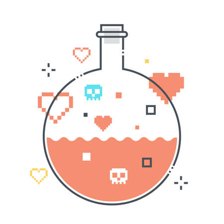 Potion related color line vector icon, illustration. The icon is about mana, test tube, poison, chemical, game, health, science. The composition is infinitely scalable.