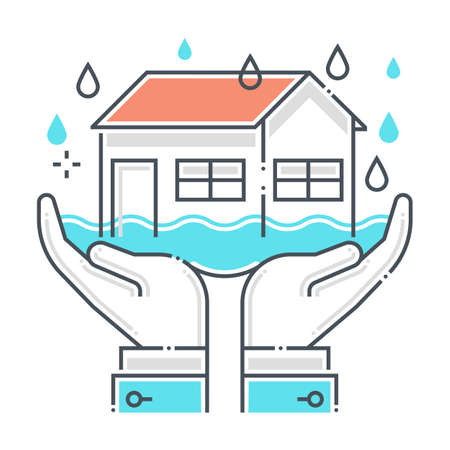 Flood protection related color line vector icon, illustration. The icon is about assurance, natural disaster, house, rain, building, water, sea. The composition is infinitely scalable.