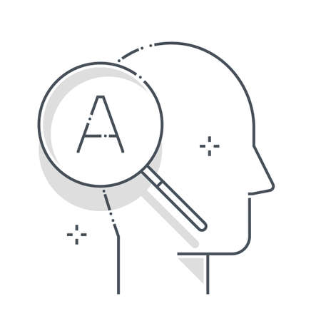 Research related color line vector icon, illustration. The icon is about magnifier, discovery, learn, search, avatar, face. The composition is infinitely scalable.