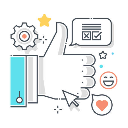 Social campaign related color line vector icon, illustration. The icon is about optimization, advertising, cursor, thumbs up, social, gear.