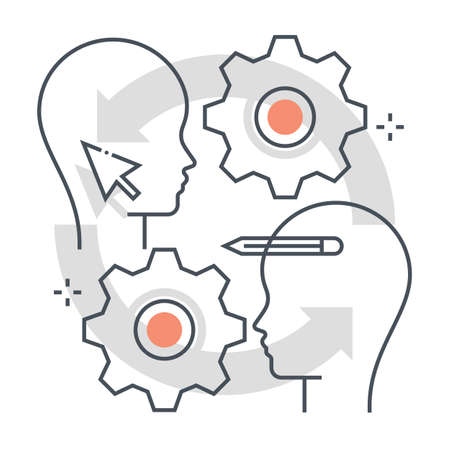 Customer retention related color line vector icon, illustration. The icon is about promotion attract, promote, customers, gear, face. The composition is infinitely scalable.