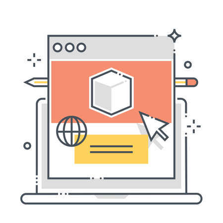 Product website  related color line vector icon, illustration. The icon is about advertisement, commerce, internet,  box, promotion. The composition is infinitely scalable.