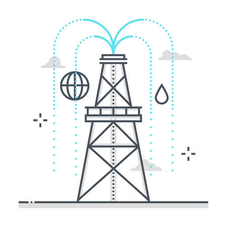Drilling rig related color line vector icon, illustration. The icon is about war, carbon levels, global warming, gasoline, petrol, fuel. The composition is infinitely scalable. Illustration