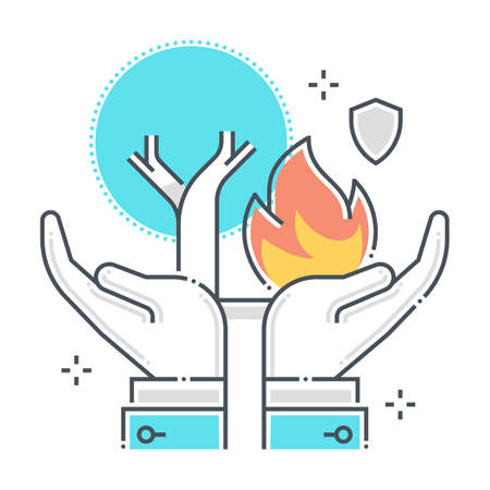 Natural disaster related color line vector icon, illustration. The icon is about assurance, tree, forest, ecology, hands. The composition is infinitely scalable.