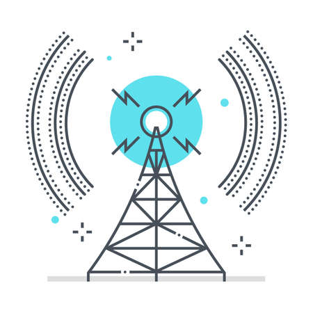 Broadcasting related color line vector icon, illustration. The icon is about communication, network, station, tower, wifi, wireless. The composition is infinitely scalable.