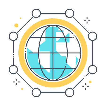 International connections related color line vector icon, illustration. The icon is about database, digital, global, globe, networking, planet. The composition is infinitely scalable. Illustration
