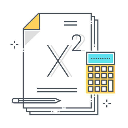 Math related color line vector icon, illustration. The icon is about lesson, paper, calculator, formula, mathematics, school. The composition is infinitely scalable.