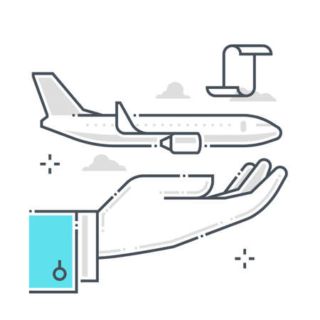 Flight protection related color line vector icon, illustration. The icon is about assurance, flight, plane, airways, ticket. The composition is infinitely scalable.