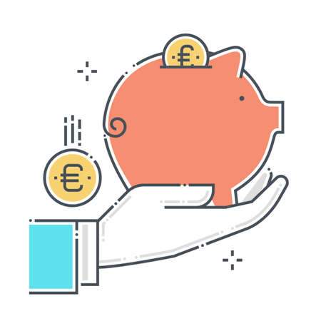 Piggy bank related color line vector icon, illustration. The icon is about investment protection, assurance, personal valuables, savings, save money. The composition is infinitely scalable.