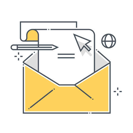 Envelope related color line vector icon, illustration. The icon is about email, letter, mail, message, note, web. The composition is infinitely scalable.