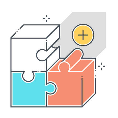 Product related color line vector icon, illustration. The icon is about  market, fit, jigsaw, puzzle, solving, box. The composition is infinitely scalable. 向量圖像