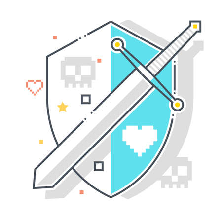 Shield and armor related color line vector icon, illustration. The icon is about mantlet, buckler, protection, sword. The composition is infinitely scalable.