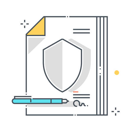Protection policy related color line vector icon, illustration. The icon is about assurance, start a claim, documents, paper, submission. The composition is infinitely scalable.