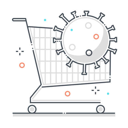 Shopping related color line vector icon, illustration. The icon is about cart, market, food, corona virus, contamination, quarantine. The composition is infinitely scalable.