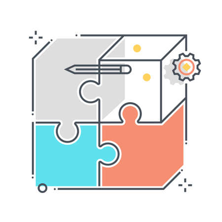 Puzzle related color line vector icon, illustration. The icon is about business market fit, jigsaw, solving, box. The composition is infinitely scalable.