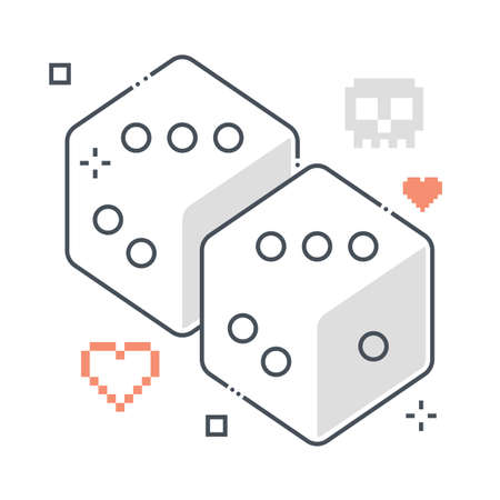 Dice related color line vector icon, illustration. The icon is about game, board game, gambling, interface, casino, bet, gambler. The composition is infinitely scalable. 向量圖像