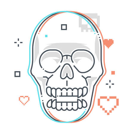 Skull related color line vector icon, illustration. The icon is about skeleton, game, monster, sprite, character, game over. The composition is infinitely scalable. 向量圖像