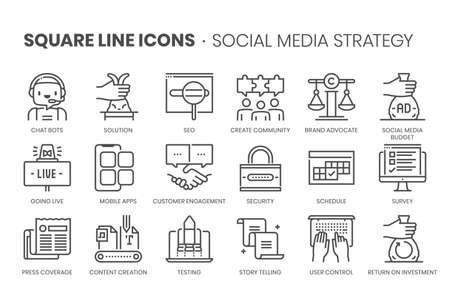 Social media strategy, square line icon set