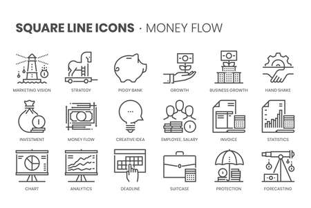 Money flow, square line icon set. The illustrations are a vector, editable stroke, thirty-two by thirty-two matrix grid, pixel perfect files. Stock Illustratie