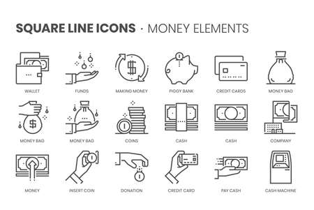Money elements, square line icon set. The illustrations are a vector, editable stroke, thirty-two by thirty-two matrix grid, pixel perfect files.