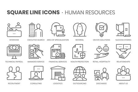 Human resources, square line icon set. The illustrations are a vector, editable stroke, thirty-two by thirty-two matrix grid, pixel perfect files. 向量圖像