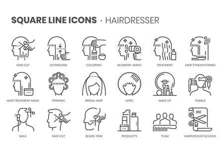 Hair dresser, square line icon set. The illustrations are a vector, editable stroke, thirty-two by thirty-two matrix grid, pixel perfect files.