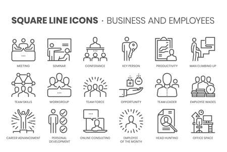 Business and employees, square line icon set. The illustrations are a vector, editable stroke, thirty-two by thirty-two matrix grid, pixel perfect files. Stock Illustratie