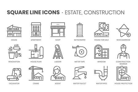 Real estate, square line icon set.