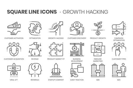 Growth hackıng flat, square line icon set. The illustrations are a vector, editable stroke, thirty-two by thirty-two matrix grid, pixel perfect files. Stock Illustratie