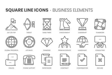 Business elements, square line icon set
