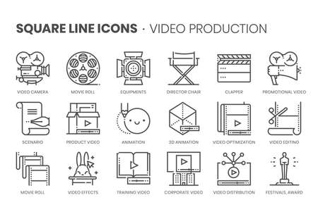 Video production, square line icon set. The illustrations are a vector, editable stroke, thirty-two by thirty-two matrix grid, pixel perfect files.
