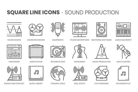 Music production, square line icon set. The illustrations are a vector, editable stroke, thirty-two by thirty-two matrix grid, pixel perfect files. 向量圖像
