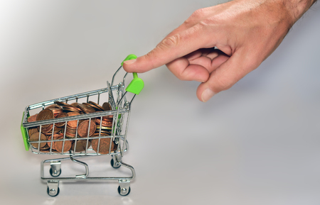 shopping cart: Shopping cart with money Stock Photo