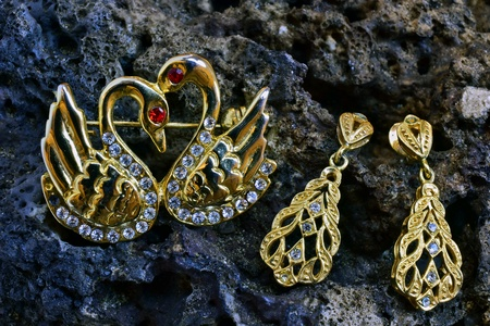 Earring and brooch on a stone