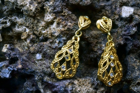 Earring on a stone Imagens