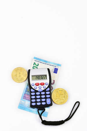 close-up of calculator and money for accounting and finance