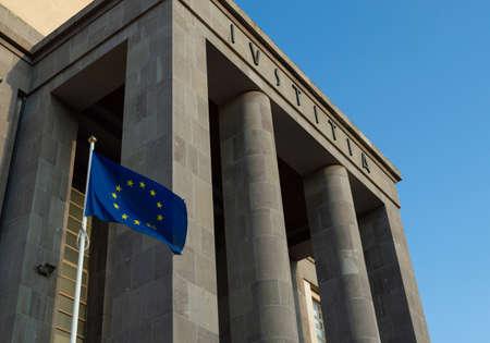 Europe Flag outside a tribunal