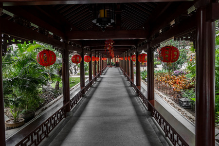 Corridor decorated with Chinese lanterns Stock Photo