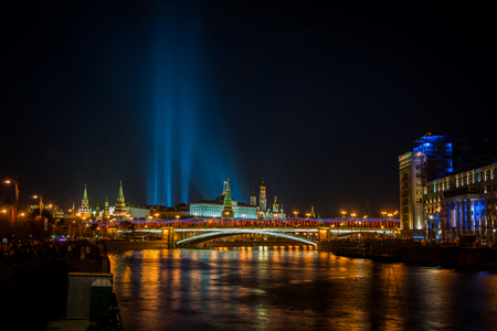 lamp made of stone: Beautiful night view of the Kremlin from the Moscow river