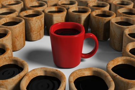 preferable: Red cup among dirty cups Stock Photo