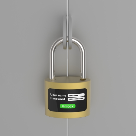 circumspect: New generation of the lock on steel door Stock Photo