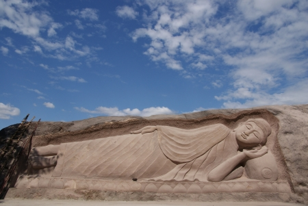 Buddha statue carved from the rock Stock Photo - 15865219